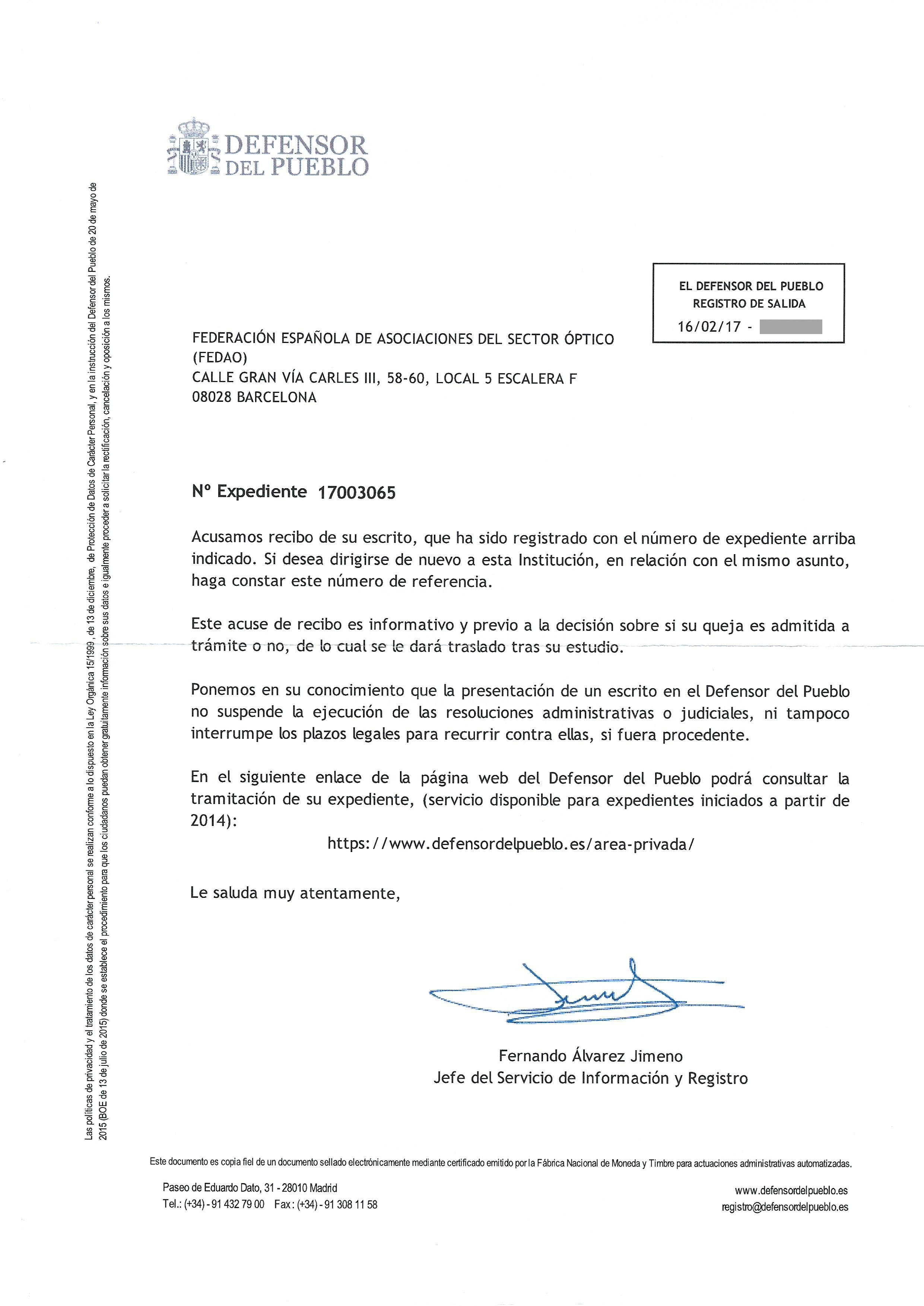 Carta Defensor del Pueblo 16-02-2017